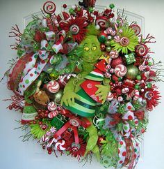 Grinch Christmas Wreath on Etsy