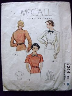 McCall 8244 Vintage 1930's Blouse Pattern