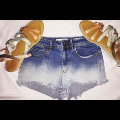 High Waisted Short Ombré/ dip dyed Shorts Adorable pair of dip dyed jeans from Pacsun! These are perfect for spring/summer time that is right around the corner! Length from top to bottom is 9 1/2 inches and inseem is around 1 1/2! PacSun Shorts Jean Shorts