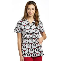 Whimsical owls adorn the 321 Scrubs by White Cross Women's V-Neck Owl Print Scrub Top. Get a unique look that makes a perfect for veterinary or pediatric settings.