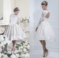Hot Sale Elegant Ivory Long Sleeve Backless Knee Length Short Wedding Dress Bride Lace Dresses Prom Dresses