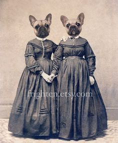 French Bulldog Art 8x10 Print Sister Art Twin Sisters by frighten