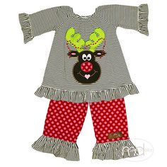 8de58940 Millie Jay Reindeer Appliqued Girls Pants Set from Madison-Drake Children's  Boutique
