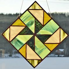Handmade Stained Glass Quilt Style Green by TheCoastalSoul on Etsy, $29.00
