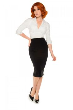 Laura Byrnes California High Waisted Seamed Pencil Skirt in Black Ponte