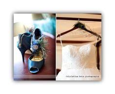 Spring Shoe Clips Peacock & Rhinestone Brooch. Bride Bridal Bridesmaid by sofisticata, http://sofisticata.etsy.com Real Wedding Accessories / Photo by ChristinaBohnPhotography.com