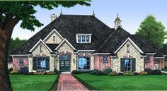Charming French Country Home Plan - 48028FM | European, French Country, 1st Floor Master Suite, Bonus Room, CAD Available, Den-Office-Library-Study, Jack & Jill Bath, PDF, Split Bedrooms, Corner Lot | Architectural Designs