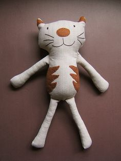Kids Stuffed Rag Cat. Light brown and beige. by ThePaperNeedle, $40.00
