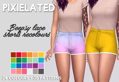 "pixielated: "" - 24 solid recolours and 30 patterned recolours of @beepsy's Lace Shorts - solids adds swatches to the originals, patterns are standalone - unisex, teen to elder - feel free to tag me using #xdeadgirlwalking or #pixielated - you can..."