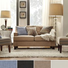 INSPIRE Q Elston Linen Sloped Track Loveseat - Overstock Shopping - Great Deals on INSPIRE Q Sofas & Loveseats