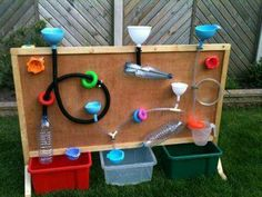 Water play wall for the garden. Outdoor Learning Spaces, Kids Outdoor Play, Outdoor Play Areas, Outdoor Activities For Kids, Kids Play Area, Summer Activities, Family Activities, Kids Backyard Playground, Backyard For Kids