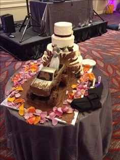Pink And Orange Wedding Cake Mud Truck Surprise Groom S Choice Montilio Bakery