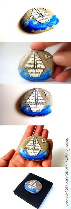 Mixed Media Stone www.MalenaValcarcel.etsy.com