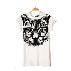 """Western White Short Sleeves """"Big Face Cat"""" T-shirt"""