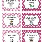 30 Bilingual (Spanish/English) Literary Genre Labels for Classroom Library plus blank pink chevron/polka dot design template page. Text and icons a...
