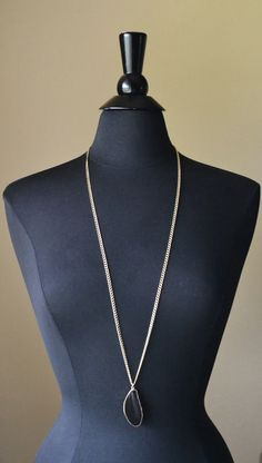Very Long Necklace with Gold Plated Black Agate and by MarcieRoxx, $38.00