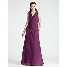 A-line V-neck Floor-length Chiffon Bridesmaid Dress – USD $ 89.69