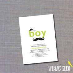 Mustache baby boy shower invitation. $10.00, via Etsy.