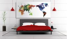 Buy from - 60$ #interiordesign #watercolor #homedecor #wallart Colorful watercolor Large world map canvas, canvas 3 panel watercolor large world map, abstract large world map