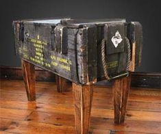 Ammo Crate Table. At $434, I'm pretty sure I could get some friend to attach 4 wooden legs to a $50 Army Surplus Store ammo crate. Cool idea though.
