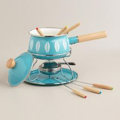 One of my favorite discoveries at WorldMarket.com: Aqua Enamel Fondue Set