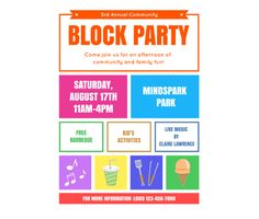 Printable flyers on pinterest for Block party template flyers free