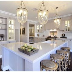 We all love a classic white kitchen but sometimes adding a little colour can add an extra sense of luxury. We used delicious warm grey… Kitchen Mantle, Kitchen Redo, Kitchen Dining, Kitchen Ideas, Kitchen Island, Classic White Kitchen, Bentwood Chairs, Bent Wood, Hamptons House