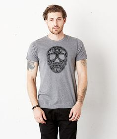 SUGAR SKULL DRAWING  Graphic tee Crew Neck. Unisex. by Obadashi