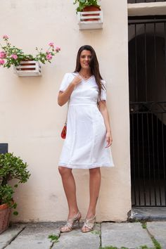 ivory midi dress with crochet lace in a-line MOUNIRA Chiffon Skirt, Silk Chiffon, Silk Dress, Elegant Midi Dresses, Elegant Wedding Dress, Civil Wedding Dresses, Crochet Lace, White Dress, Gowns