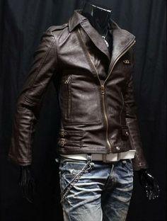 2011 Mens Casual Leather Slim Line Rider Jacket Motorcyle Coat