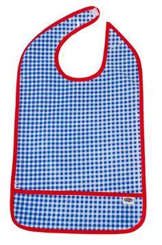 Watermelon Slices on Blue Check Print Senior Reversible Dining Bib