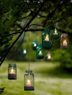 mason jar lights for by the bonfire area?