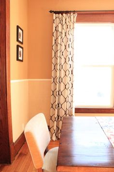 DIY Stencil Curtains using a painters drop cloth and RIT dye