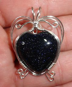 Sparkly Blue Goldstone Heart Wire Wrapped Pendant