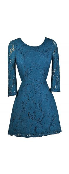 Lily Boutique Simple Yet Stunning Lace Open Back Three Quarter Sleeve Dress in Turquoise Blue, $40 Turquoise Blue Lace Dress, Open Back Lace Dress, Lace Cocktail Dress www.lilyboutique.com