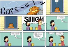 """Created by Jim Davis, Garfield is about the famous fat cat and his hilarious daily adventures with his """"pal"""" Odie and others. Garfield Quotes, Garfield Cartoon, Garfield And Odie, Garfield Comics, Cat Cartoons, Funny Animal Pictures, Funny Animals, Funny Dogs, Funny Kitties"""