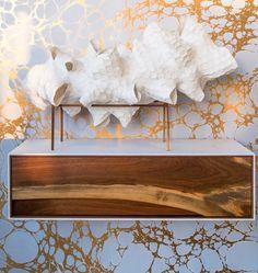Calico Wallpaper-Wabi Honey Comb Lamp by Patrick Weder Design Honeycomb, Entryway Tables, Walls, Living Room, Interior Design, Decoration, Wallpaper, House, Furniture