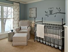Love the gray/blue, but would add pops of color for a unisex nursery instead of the cream/beige chair
