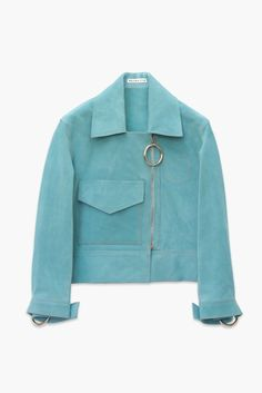 Aqua Italian suede cropped biker jacket with ring cuff detail and ring zip puller. Cropped sleeve length with front pocket and orange topstitch detail. Unlined.Italian suede 100%Made in UK