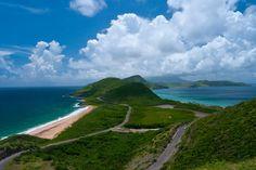 St. Kitts...Atlantic Ocean on the left; Caribbean Sea on the right