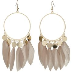 Circle Earrings with Feather Dangles ($12) ❤ liked on Polyvore