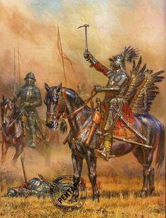 Polish winged hussar by Anatoly Telenik High Fantasy, Medieval Fantasy, Military Art, Military History, Early Modern Period, Landsknecht, Knight Armor, Modern Warfare, Illustrators