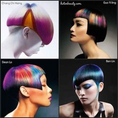 HISTRIONICO Crazy Colour, Cut And Color, Exotic Hair Color, Hair Colour, Short Hair Cuts, Short Hair Styles, Pelo Multicolor, Pixel Color, Hair Tattoos