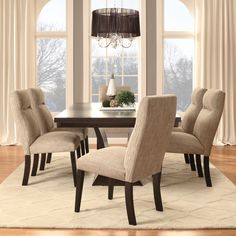 This Charles Dining Set Features An Elegant Oblong Table Of Espresso Finished Ash Surrounded By