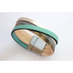 Bracelet manchette cuir métallisé et vert aqua - emmafashionstyle.fr