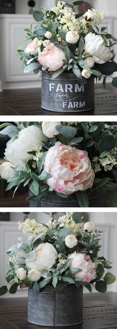 Farmhouse Décor ~Cottage Décor ~Spring Centerpiece ~Real Touch Pink/White Peonies in a Galvanized Farmhouse Pail - Farmhouse style, fixer upper style, rustic, vintage, coffee table décor, mantle décor, Joanna gaines #ad Vintage Farmhouse Decor, Farmhouse Tabletop, Farmhouse Plans, Farmhouse Style, Rustic Farmhouse, Kitchen Island Centerpiece, Kitchen Island Decor, Rustic Kitchen, Vintage Kitchen