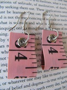 Earring recycled measure tape