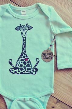 Giraffe bodysuit, Mint onepiece, Long sleeve bodysuit, Lotus baby bodysuit, Yoga baby, Zen onepiece, Baby shower gift, Winter baby gift