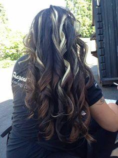 Brown black hair with blonde streaks