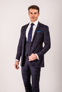 A Bespoke HQ made-to-measure three piece suit made with prince of wales check.
